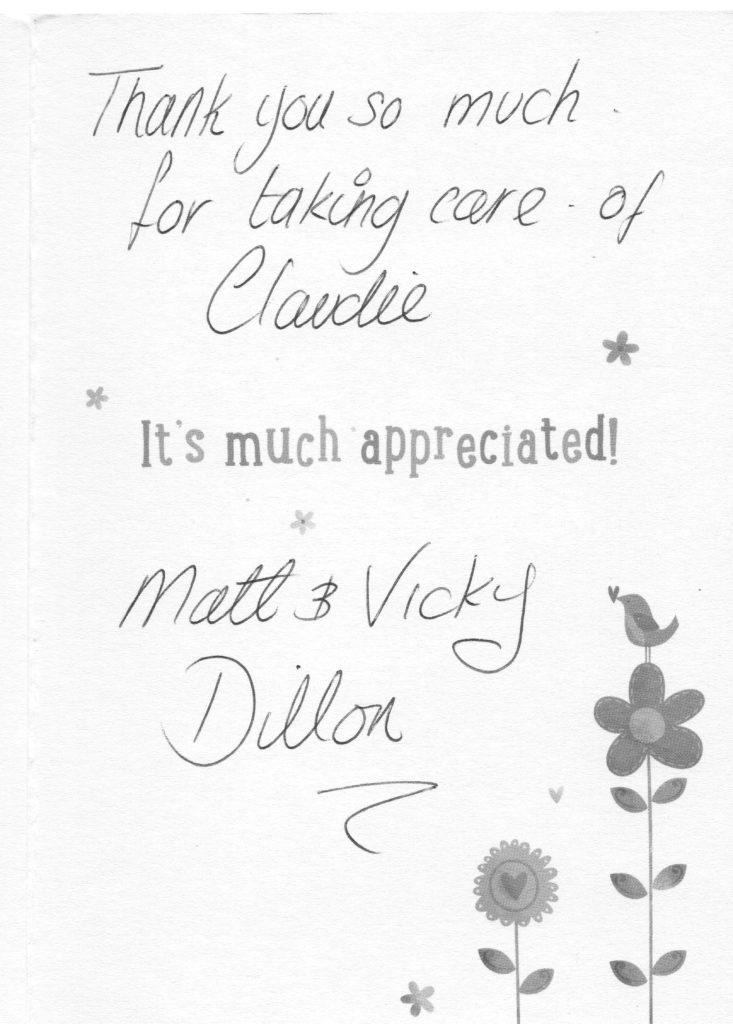 Client testimonial Mr & Mrs Dillon